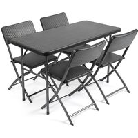 Rattan Effect 4ft Table and Chairs - CHRISTOW