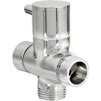 Chrome 3-Way Shower Head Diverter Valve Forshower Faucet T-Adapter - Mohoo