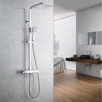 Chrome 38ºC Thermostat Shower System, Square Thermostatic Shower Mixer, with 9.7 Shower Head and 3.3 Hand Held Shower, Rod Extendable 32-47