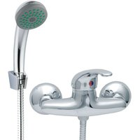 Chrome Bathroom Mixer Shower Kit Set Wall Mounted Showering Faucet with Handle - INVENA