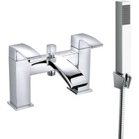 Square Bath Shower Mixer Tap Chrome and Hand Held Shower Head - NRG