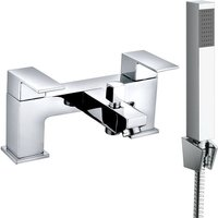 Square Twin Filler Mixer Tap and Bath Filler Hand Held Shower Head Set - NRG