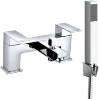 NRG - Square Twin Filler Mixer Tap and Bath Filler Hand Held Shower Head Set