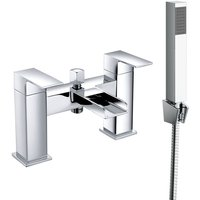 Bathroom Dual Handle Bath Filler Mixer Tap and Hand Held Shower Head Set Chrome - NRG