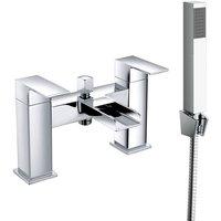 NRG - Bathroom Dual Handle Bath Filler Mixer Tap and Hand Held Shower Head Set Chrome