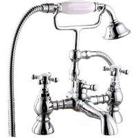 NRG - Traditional Bath Shower Filler Mixer Tap and Bathroom Shower Head Set Chrome Brass