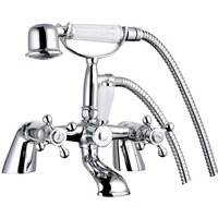 Traditional Bath Filler Shower Mixer Tap with Handset Bathroom Chrome Deck Mounted - NRG