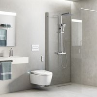 Chrome Bathroom Thermostatic 38ºC Mixer Shower, Mixer Shower System, Shower Set with 9.5 Head Rain Shower and 3.3 Handheld Shower Square Shower,