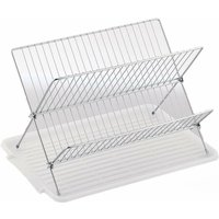 Chrome Folding Dish Drainer With Tray-X Shape