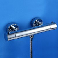 Chrome Round Two Handle Thermostatic Shower Faucet with Shower Valve - LOOKSHOP