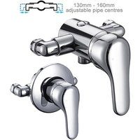 Chrome Single Lever Shower Mixer Valve Exposed Concealed -140 - 160mm Centres - BuyaParcel