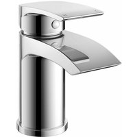 Chrome Waterfall Basin Mono Mixer Tap Bathroom Sink Single Lever Round and Waste - TRADE TAPS