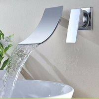 Chromed Bathroom Sink Basin, Waterfall Wall-mounted Mixer Tap, Length 19Cm Hasaki - KINGSO