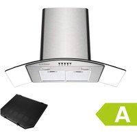 650 m3/h 90CM Cooker Hood 1pc Carbon Filter Class A Stainless Steel Curved Glass Extractor Hood - 506SS90 - Black - Ciarra