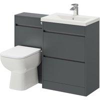 City Gloss Grey 1100mm 2 Drawer Vanity Unit Toilet Suite
