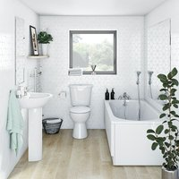 Clarity complete bathroom suite with straight bath, shower and taps 1500 x 700