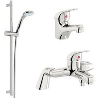 single lever bath shower mixer tap, slider rail and basin mixer pack - Clarity