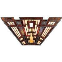 Elstead Classic Craftsman - 2 Light Tiffany Wall Uplighter - Bronze Finish, E14