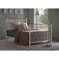 Classic Style Ivory Metal Bed Frame - Double 4ft 6