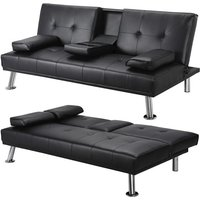Yaheetech - Click Clack Sofa Bed Faux Leather 3 Seater Sofa Couch Living Room/Spare Room/Guest Room Bed Settee With Cup Holders Black