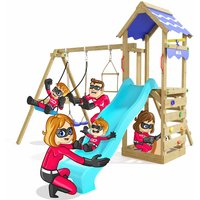 Climbing Frame Active Heroows Swing Set with Sandpit and Climbing Wall, Swing and Turquoise Slide, Lots of Accessories