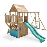Climbing Frame BalconyFort Searcher - Wooden Playhouse Childrens Outdoor Play Tower Monkey Bar Swing Set Club House Slide - DUNSTER HOUSE LTD.