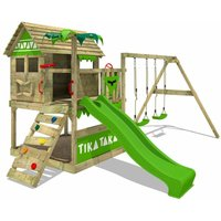 FATMOOSE Wooden climbing frame TikaTaka with swing set and apple green slide, Playhouse on stilts for kids with sandpit, climbing ladder and