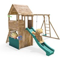 Climbing Frame FortPlus Escape - Wooden Playset with Monkey Bars Climbing Wall Slide Swing Playhouse Den - DUNSTER HOUSE LTD.