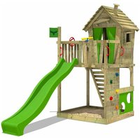 MEGA-SALE Wooden climbing frame HappyHome with apple green slide, Playhouse on stilts for kids with sandpit, climbing ladder and play-accessories