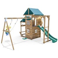 Climbing Frame - ManorFort Stronghold - Pressure Treated Wooden Garden Playhouse Swing Slide Set Monkey Bars Climbing Wall - DUNSTER HOUSE LTD.