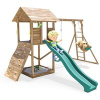 Climbing Frame MaxiFort Frontier - Playhouse Pressure Treated Wood Slide Swing Set Monkey Bars Play Den - DUNSTER HOUSE LTD.
