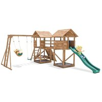 Climbing Frame MegaFort Mountain - Huge Kids Wooden Climbing Wall Monkey Bars Swing Set Slide Play Towers - DUNSTER HOUSE LTD.