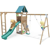 Climbing Frame MonkeyFort Woodland - Playhouse Swing Set Wave Slide Monkey Bars Wooden - DUNSTER HOUSE LTD.