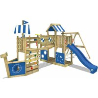 WICKEY Wooden climbing frame ArcticFlyer with swing set and blue slide, Playhouse on stilts for kids with sandpit, climbing ladder and play-accessories