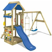 WICKEY Wooden climbing frame FreshFlyer with swing set and blue slide, Garden playhouse with sandpit, climbing ladder and play-accessories