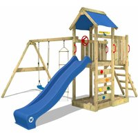 Wooden climbing frame MultiFlyer with swing set and blue slide, Garden playhouse with sandpit, climbing ladder and play-accessories - Wickey