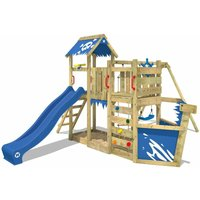 WICKEY Wooden climbing frame OceanFlyer with swing set and blue slide, Playhouse on stilts for kids with sandpit, climbing ladder and play-accessories