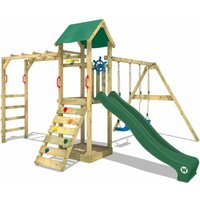 Climbing frame Smart Bridge with swing, slide and sandpit, green - Wickey