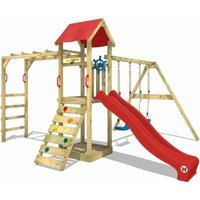 Climbing frame Smart Bridge with swing, slide and sandpit, red - Wickey