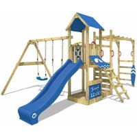WICKEY Wooden climbing frame Smart Dock with swing set and blue slide, Garden playhouse with sandpit, climbing wall and play-accessories