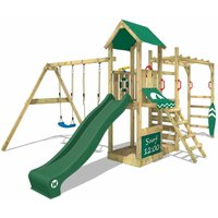 Wooden climbing frame Smart Dock with swing set and green slide, Garden playhouse with sandpit, climbing wall and play-accessories - Wickey