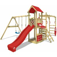 Wooden climbing frame Smart Dock with swing set and red slide, Garden playhouse with sandpit, climbing wall and play-accessories - Wickey