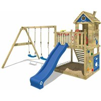 SUPERSALE Wooden climbing frame Smart Lodge 120 with swing set and blue slide, Playhouse on stilts for kids with sandpit, climbing ladder and