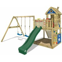 WICKEY Wooden climbing frame Smart Lodge 120 with swing set and green slide, Playhouse on stilts for kids with sandpit, climbing ladder and