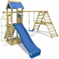 WICKEY Wooden climbing frame Smart Park with swing set and blue slide, Garden playhouse with sandpit, climbing ladder and play-accessories