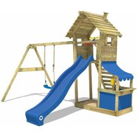 WICKEY Wooden climbing frame Smart Shop with swing set and blue slide, Garden playhouse with sandpit, climbing ladder and play-accessories
