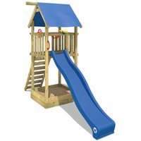Wooden climbing frame Smart Tower with blue slide, Garden playhouse with sandpit, climbing ladder and play-accessories - Wickey