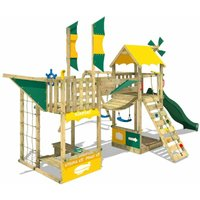 WICKEY Wooden climbing frame Smart Wing with swing set and green slide, Playhouse on stilts for kids with sandpit, climbing ladder and play-accessories