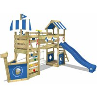 WICKEY Wooden climbing frame StormFlyer with swing set and blue slide, Playhouse on stilts for kids with sandpit, climbing ladder and play-accessories