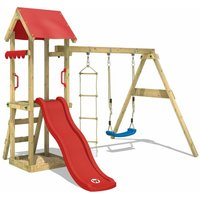 WICKEY Wooden climbing frame TinyCabin with swing set and red slide, Garden playhouse with sandpit, climbing ladder and play-accessories